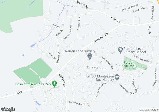 Map for Brickman Close, Leicester Forest East