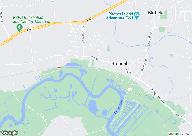 Map for Yare Valley Rise, Brundall, Norwich