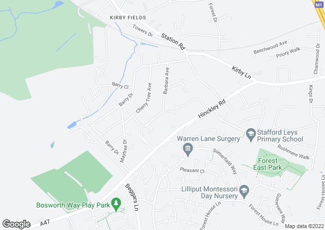 Map for Barbara Avenue, Kirby Muxloe, Leicester