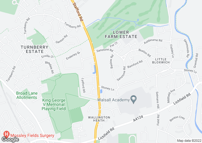 Map for Stafford Road, Bloxwich, Walsall