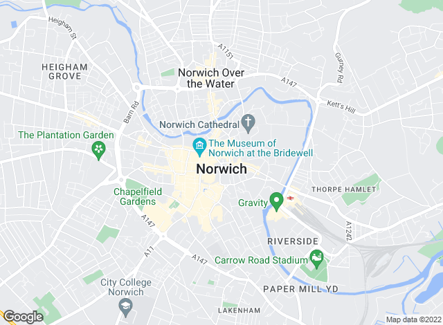 Map for Watsons, Norwich