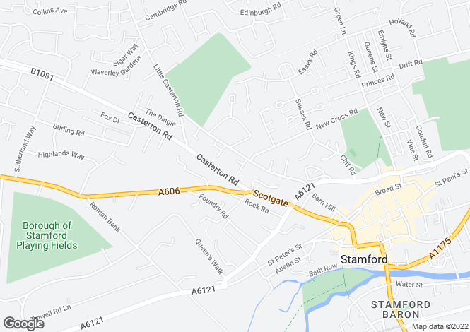 Map for St Johns Terrace, Radcliffe Road, STAMFORD, Lincolnshire