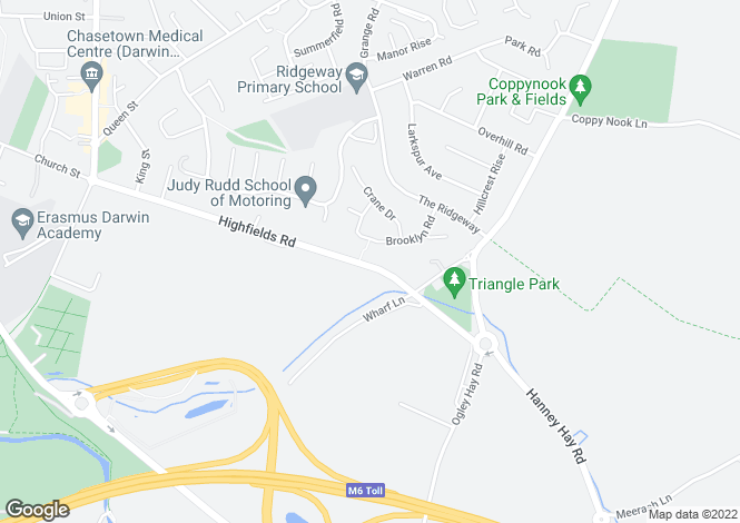 Map for Highfields Road, Chasetown, Burntwood, Staffordshire, WS7