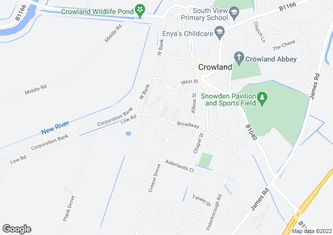 Map for Broadway, Crowland, PETERBOROUGH, Lincolnshire