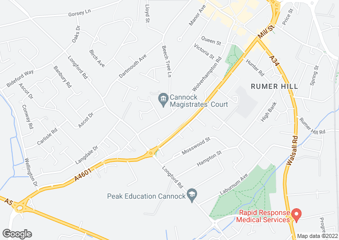Map for Wolverhampton Road, CANNOCK, WS11 1AX