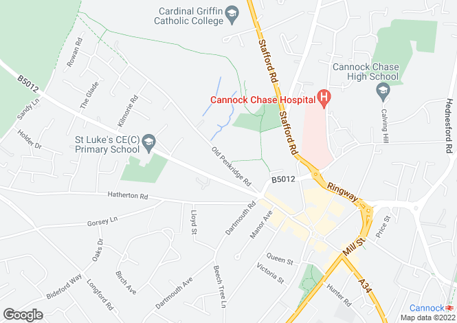 Map for Old Penkridge Road, Cannock, Staffordshire