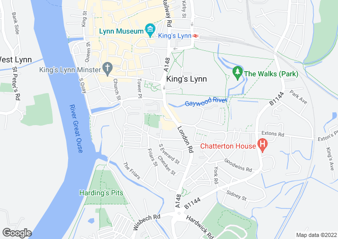 Map for London Road, Kings Lynn, Norfolk