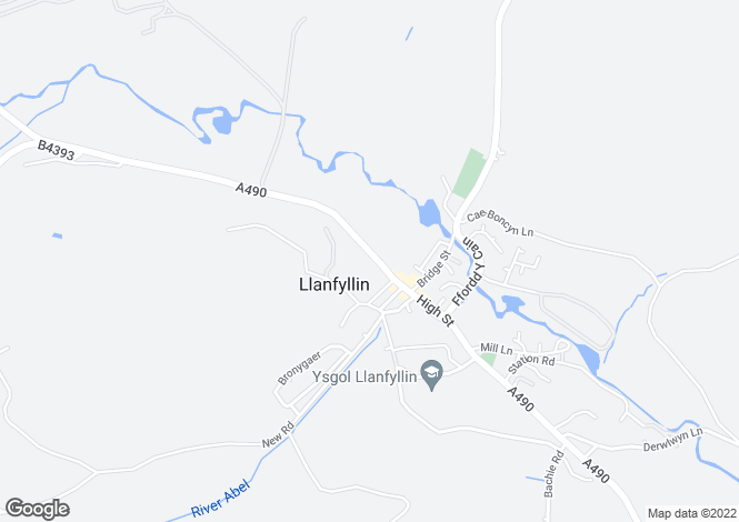 Map for The Green Oak, High Street, Llanfyllin, Powys