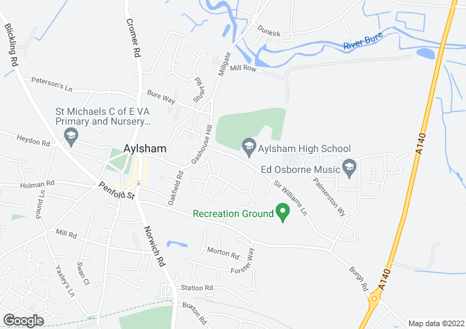 Map for Stanley House, Sir Williams Lane, Aylsham
