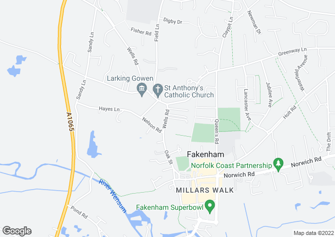 Map for 38 Wells Road, Fakenham, NR21 9AA
