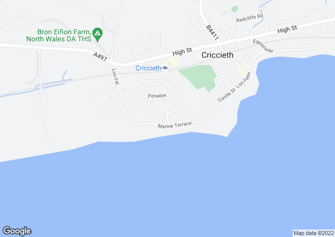 Map for Queens Road, Criccieth