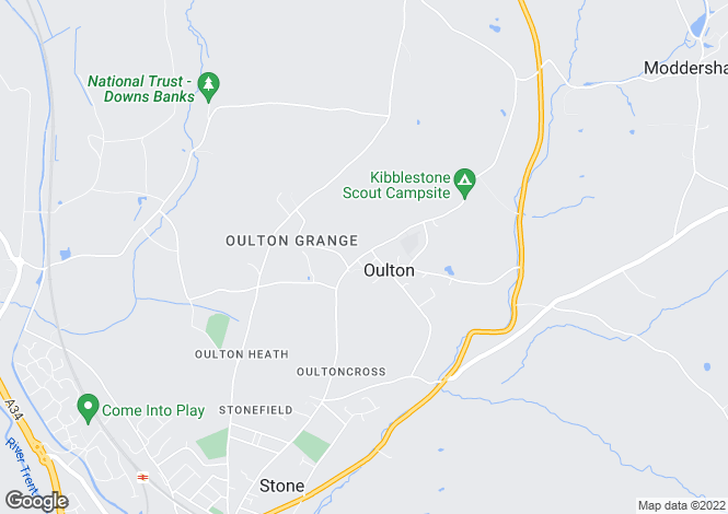 Map for Kibblestone Road, Oulton, Stone, Staffordshire