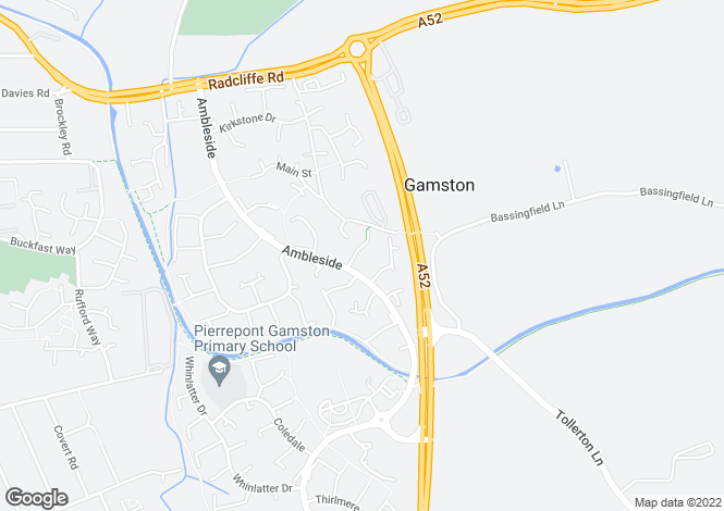 Map for Windermere Close, Gamston