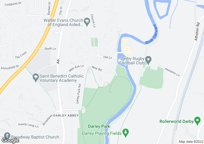 Map for New Road, Darley Abbey