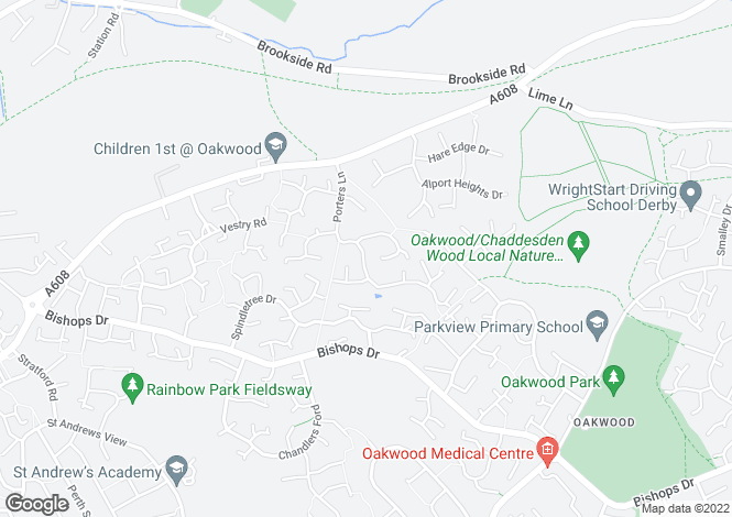 Map for Porters Lane, Oakwood, Derby