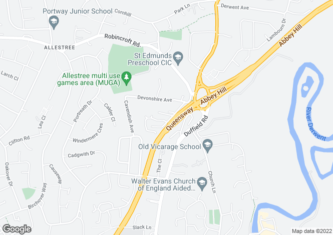 Map for Baslow Drive, Allestree, Derby