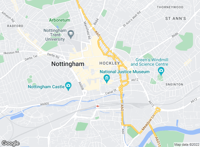 Map for Eastside Properties, Nottingham