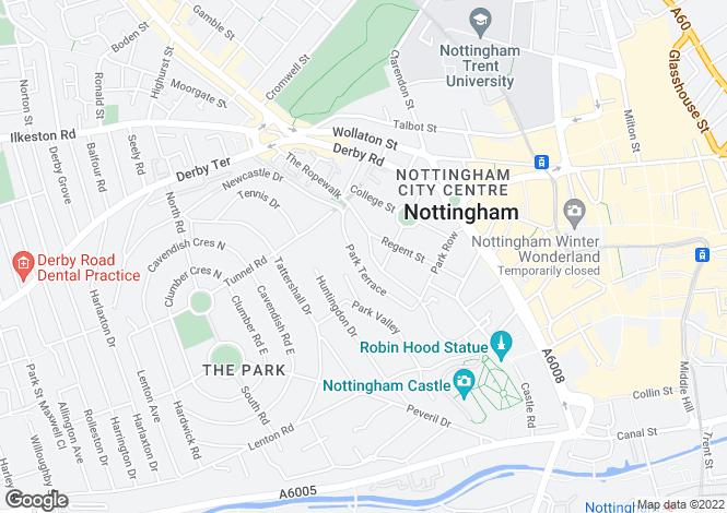 Map for 30 The Ropewalk, Nottingham, NG1