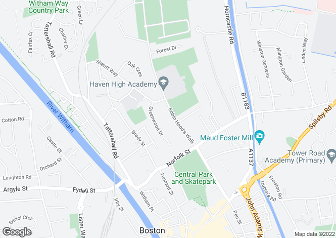 Map for Robin Hoods Walk, Boston, Lincolnshire