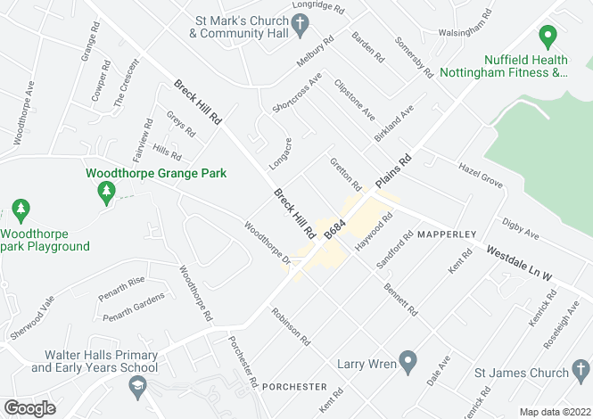 Map for Breck Hill Road, Mapperley, Nottingham
