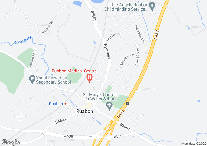 Map for The Villas, New High Street, Ruabon, Wrexham, LL14