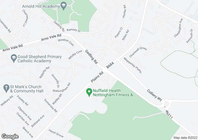 Map for Mapperley Heights, Plains Road