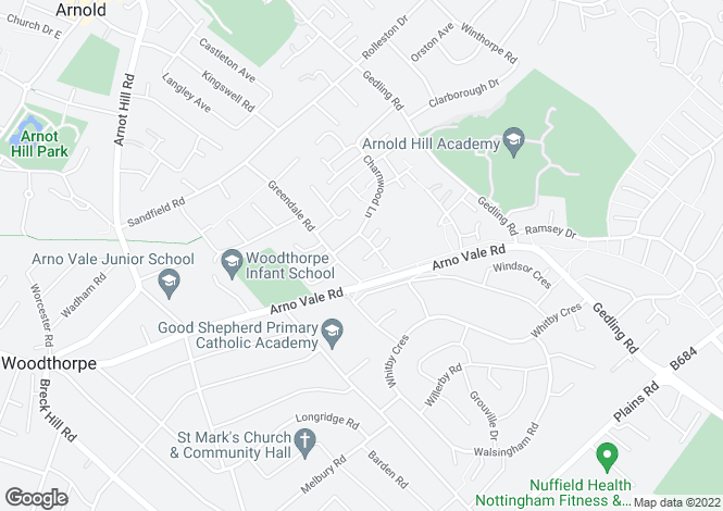 Map for Thetford Close, Woodthorpe View/Arnold, Nottingham
