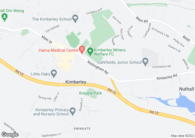 Map for Nottingham Road, Kimberley, Nottingham