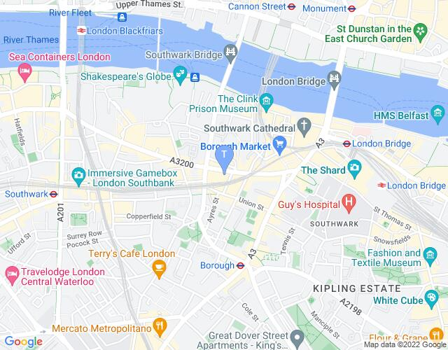 Location map for Menier Chocolate Factory