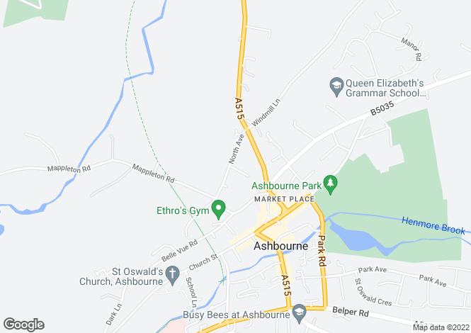 Map for North Avenue, Ashbourne, DE6 1EZ