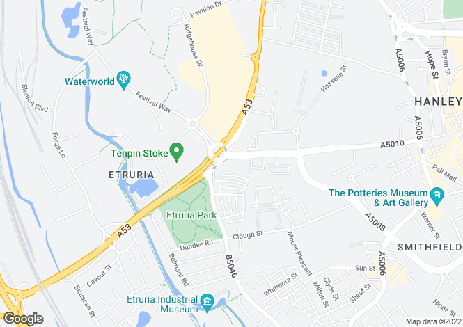 Map for Etruria Road, Hanley, Stoke on Trent