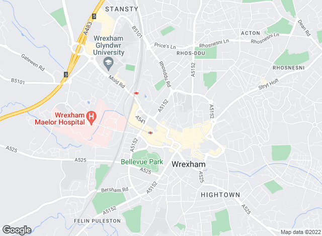 Map for Beresford Adams, Wrexham
