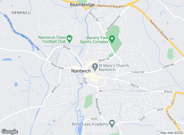 Map for Butters John Bee, Nantwich