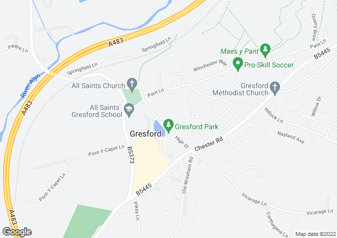 Map for 1 Glan-Y-Llyn, High Street, Gresford, LL12 8PT