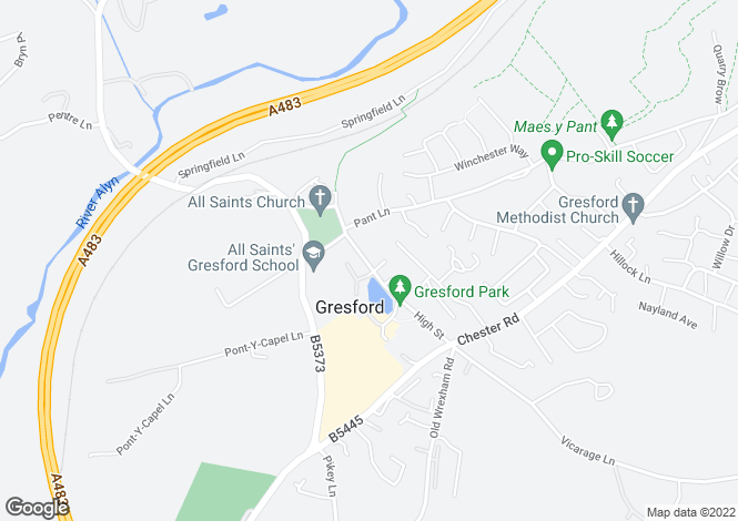Map for High Street, Gresford