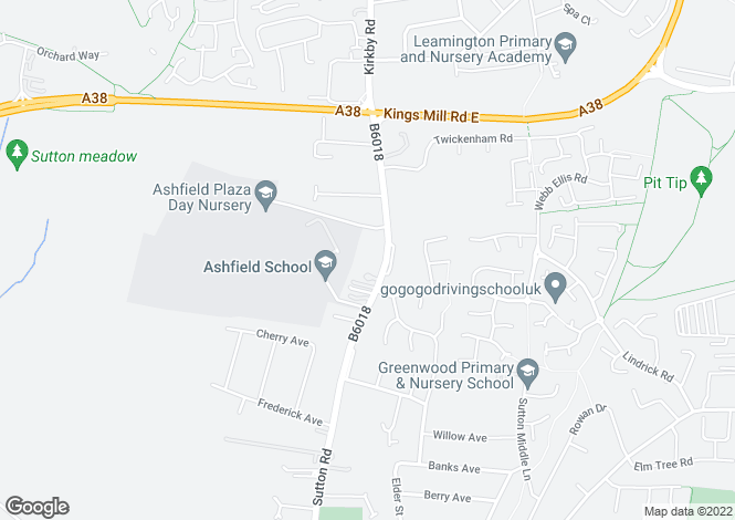 Map for Sutton Road, Kirkby-in-Ashfield, Nottingham, Nottinghamshire