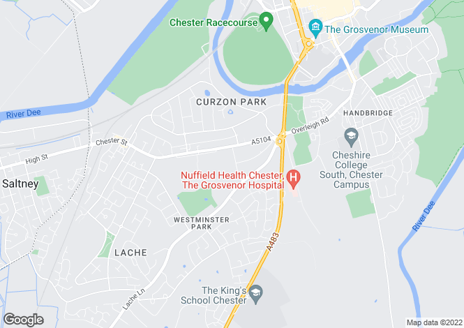 Map for Curzon Park, Chester