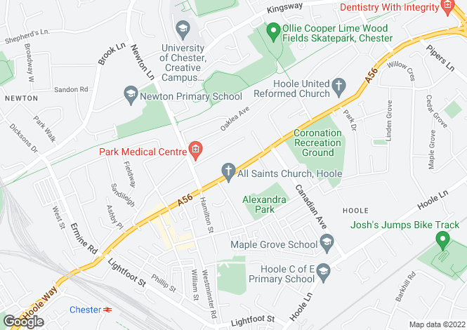 Map for Hoole, Chester