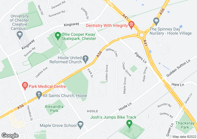 Map for Bellard Drive, Hoole, Chester CH2