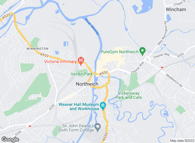 Map for Bridgfords, Northwich