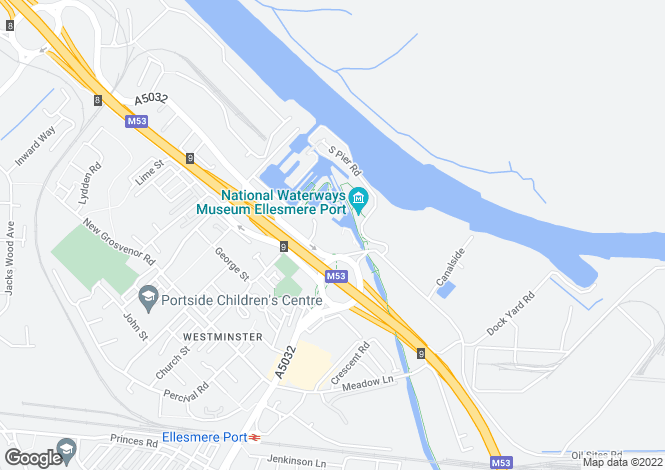 Map for Grosevnor Wharf Road, Ellesmere Port, Cheshire
