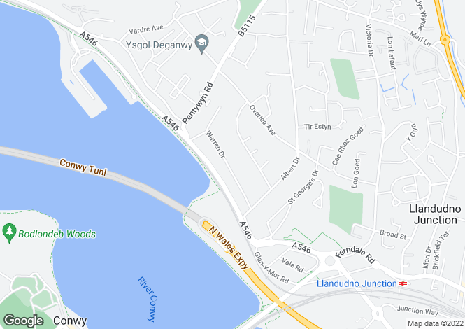 Map for Warren Drive, Deganwy