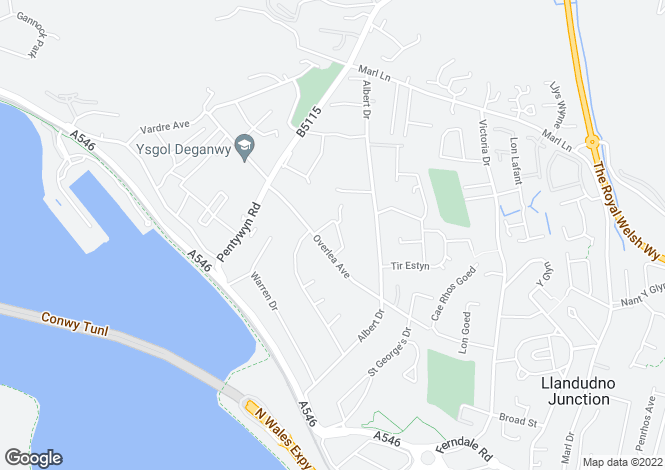 Map for Overlea Crescent, Deganwy, LL31