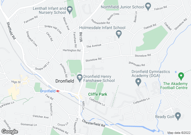 Map for Park Avenue, Dronfield, S18 2LQ