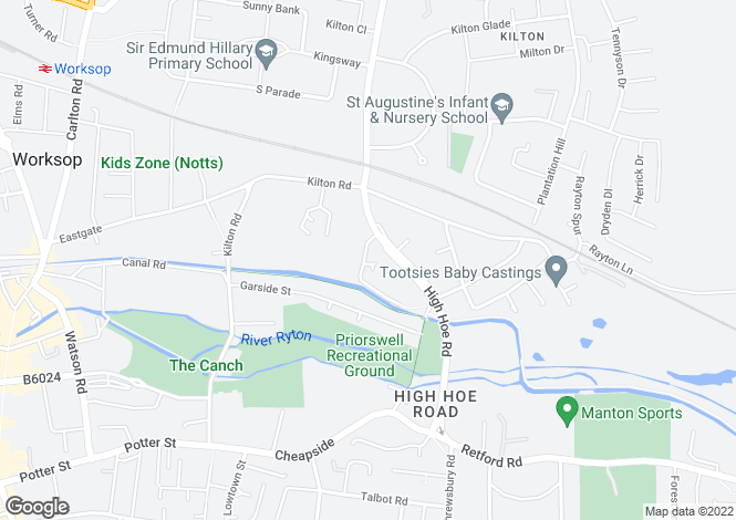 Map for High Hoe Drive, Worksop, S80