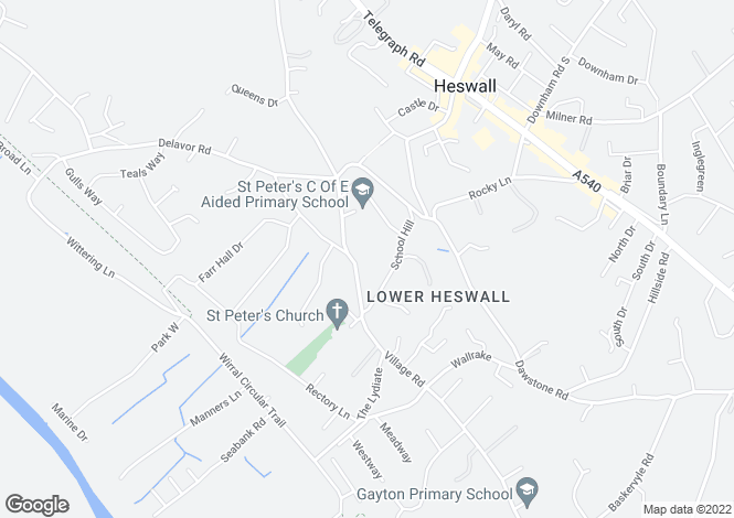 Map for AXHOLME, 76 THURSTASTON ROAD, LOWER HESWALL, WIRRAL