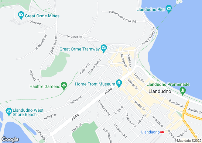Map for Abbey Road, Llandudno, Conwy