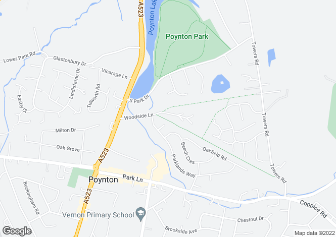 Map for Woodside Lane, Poynton, STOCKPORT, Cheshire