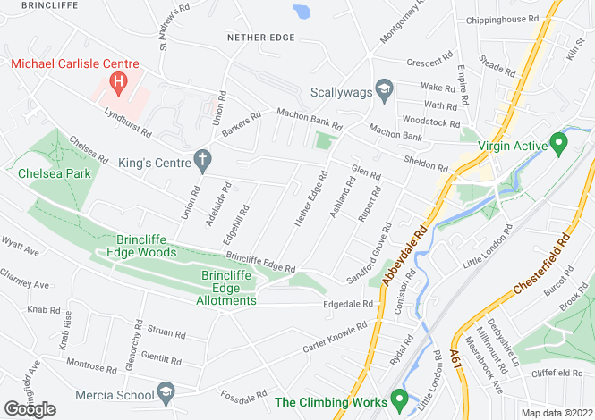 Map for Nether Edge Road, Nether Edge, Sheffield
