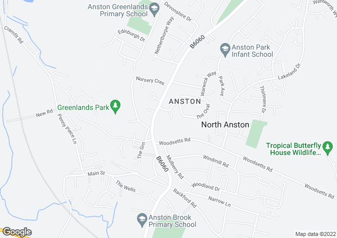 Map for Sunnyside Close, North Anston, Sheffield